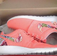 Neon coral floral Nikes