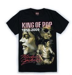 Memorial Michael Jackson King of Pop T-Shirt for Michael Jackson Fans!!! - 100% pre-shrunk Cotton Collar:O-Neck - Graphic pattern 3d print - Sleeve Length:Short - Taped neck and shoulders for comfort