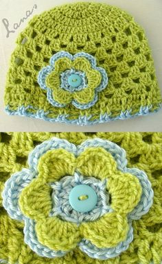 """Crochet Baby Design Lanas Hilos: SCARF HAT """"Granny Style""""link to pattern. I love these, i am definitely picking up this hobby :) Crochet Beanie Hat, Crochet Baby Hats, Knit Or Crochet, Crochet Scarves, Crochet For Kids, Crochet Crafts, Crochet Projects, Scarf Hat, Crocheted Hats"""
