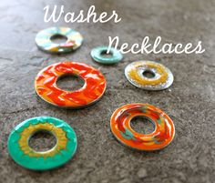 Washer Necklace Pendants from inexpensive ingredients - Nail Polish and Washers!