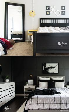 Girls Bedroom See how we transformed our boring master bedroom into a neutral monochrome modern bedroom with these simple black and white decor ideas! Contemporary Bedroom Decor, Modern Bedroom Furniture, Modern Room, Home Decor Bedroom, Bedroom Wall, Master Bedroom, Bedroom Ideas, Furniture Ideas, Unusual Furniture