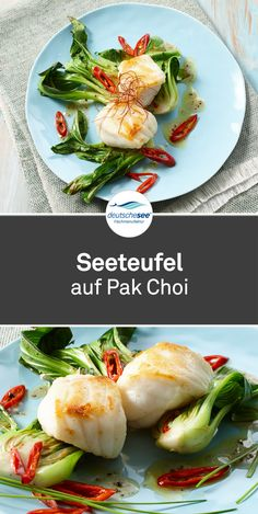Monkfish on Pak Choi - Fisch / Meeresfrüchte - Greek Recipes Healthy Chocolate Shakes, Pak Choï, Chicory Salad, Vegetable Cake, Fish Dishes, Greek Recipes, Healthy Dinner Recipes, Salad Recipes, Good Food