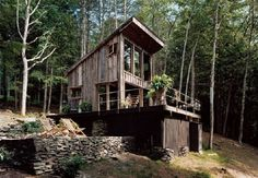 Salvaged wood cabin in Sullivan County, NY. Made from reclaimed barn wood. This home is off-grid with a composting outhouse. Photos by Dean Kaufman. Via: nymag.com