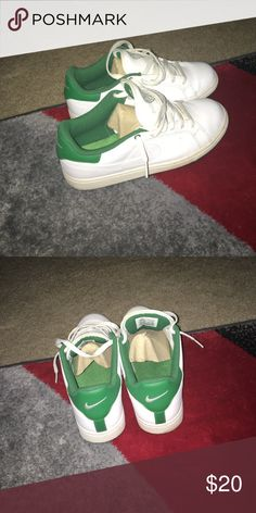 Men well kept Green and White Nikes Nice White and Green men nikes Shoes Sneakers