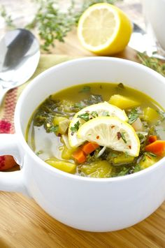 Fall vegetables are simmered in a lemon-flavored broth for the ultimate healthy comfort food. I use chicken stock but you can easily use vegetable stock to make this vegan! Low Carb Vegetables, Different Vegetables, Fall Vegetables, Veggies, Kale Recipes, Skinny Recipes, Healthy Recipes, Lunch Recipes, Vegetable Recipes