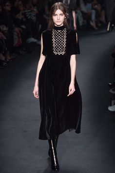 Valentino black velvet dress . Vogue UK 2015 Fashion Trends. http://www.vogue.co.uk/fashion/trends/2015-16-autumn-winter/bloomsbury-set-life-in-squares/gallery/1375398