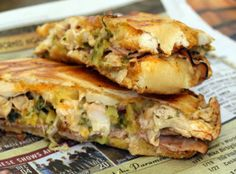 Outrageous Cuban Sandwich with Mojo sauce Recipe - Pulled or Roasted Pork, Ham, Swiss Cheese, Dill Pickles, Red Onion, Yellow Mustard or Mayo and MOJO sauce (recipe included)