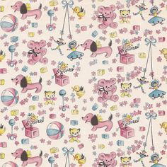 Vintage Baby Gift Wrap From Hallmark Vintage Birthday Cards, Vintage Greeting Cards, Vintage Wrapping Paper, Vintage Paper, Baby Scrapbook, Scrapbook Paper, Scrapbooking, Papier Kind, Baby Gift Wrapping