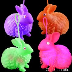 FLASHING BUNNY PUFFER YO-YO BALLS. Pick up by the loop and use as a punch ball to activate the flashing LED's inside. Batteries included. Assorted bright colors. Perfect for Easter basket toys, party favors and Christmas stocking stuffers.(1 dozen per display unit) Size 4 Inch bunny, display unit 10.5 X 9.5 X 9.5 inches