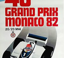 1982 Monaco Grand Prix Racing Poster,monaco,monaco grand prix,formula one,monte carlo,racing poster,ephemera,retro,vintage race car,motor sports,automotive art,poster art,1982,motor race,Circuit de Monaco,vintage grand prix