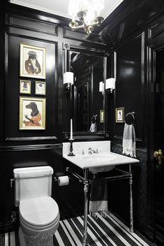 Black Paneled Powder Room, Eclectic, bathroom, Rob Stuart InteriorsBlowoutDiva.com MD | DC | VA Hair Stylists & Makeup Artists that come to you. BlowoutDiva.com