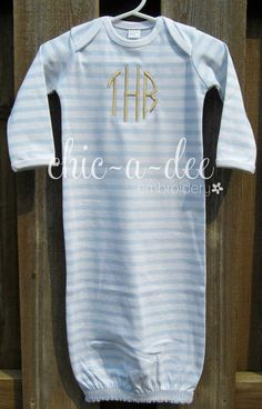 Baby boy monogrammed gown cap bib and burp cloth set by monogrammed stripe layette gown blue negle Gallery