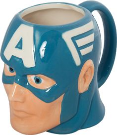 Captain America Mug  Oh god I love it! But do I really want to be drinking tea out of Cap's skull?