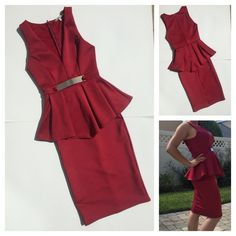 ✨HP✨ Red Deep V Midi Dress ❤️ This is a hot deep v-neckline dress with a metallic gold belt. The dress is good for business/party occasions. 100% polyester; Dry clean only. Dresses Midi