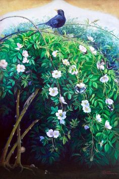 Wild Rose Bush, oil on canvas cm Bird Paintings On Canvas, Large Canvas Prints, Nature Paintings, Animal Paintings, Original Paintings, Art Prints, Original Artwork, Oil Paintings, Painting Canvas