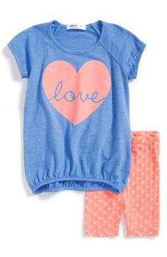 Joah Love Slub Tee & Polka Dot Capri Leggings (Baby Girls) available at #Nordstrom