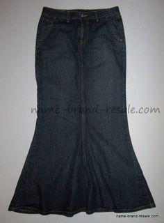 LUCKY BRAND Skirt 4 27 Long PEPLUM Flare Denim Jean Mermaid MODEST #LuckyBrand #ALine