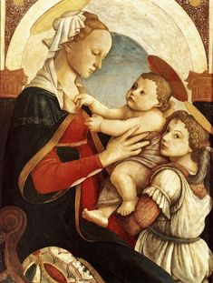 Sandro Botticelli Madonna and Child with an Angel , Spedale degli Innocenti, Florence. Read more about the symbolism and interpretation of Madonna and Child with an Angel 1 by Sandro Botticelli. Giorgio Vasari, Sandro, Renaissance Kunst, Renaissance Paintings, Italian Painters, Italian Artist, Catholic Art, Religious Art, Madonna And Child