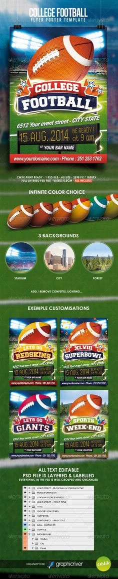 Football Flyer Flyer template, Template and Print templates