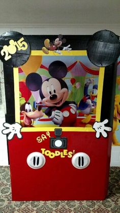 Mickey photo booth made by husband and me! Mickey Mouse Birthday Theme, Mickey Mouse Clubhouse Birthday, Mickey Party, Circus Birthday, 1st Birthday Parties, 2nd Birthday, Mickey Mouse Photo Booth, Mickey Mouse Photos, Mickey Printables