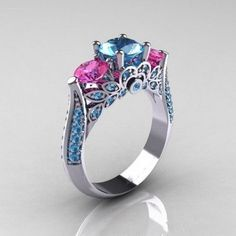 Natural 2.2CT Round Diamond Cut Blue Aquamarine and 2.82 TCW Pink Sapphire Promise Engagement Wedding Anniversary Ring Size 6