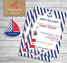 New to DesignedbyDaniN on Etsy: Baby shower invitation nautical blue white and red stripes shower ahoy sea nautical shower it's a boy it's a girl printable diy (15.00 USD)