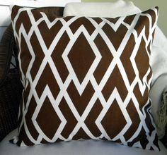 NEW - Designer Decorative Throw Pillow Cover - Lattice Print - Chocolate Brown and  Ivory - 18 Inches Square. $25.00, via Etsy.
