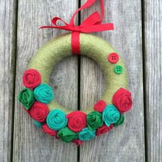 5 handmade yarn wrapped Christmas wreath by PedrosPlaques on Etsy