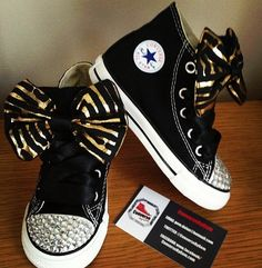 Sassy bedazzled toe high-top converse! Super cute for dance :)