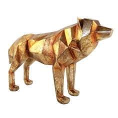 Add an artistic twist to your living space with the Cubist Wolf Sculpture from Moe's Home Collection. This unique piece is constructed out of durable poly resin and takes the shape of a lone wolf designed in a cubist style in a gold finish. Contemporary Decorative Objects, Contemporary Home Decor, Home Decor Accessories, Decorative Accessories, Vases, Largest Wolf, Wolf Sculpture, Dire Wolf, Moe's Home Collection
