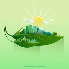 Ecologie environnement paysage sur les feuilles Vecteur Premium
