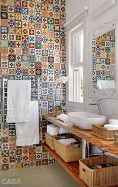 Imagens de bancada de madeira rústica para banheiro