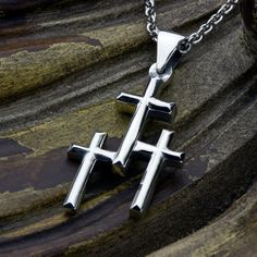 Cross Family Series Necklace Pendant With by DavidDafferDesigns Sterling Silver Cross, Sterling Silver Necklaces, Arrow Necklace, Pendant Necklace, Christian Jewelry, Pendants, Unique Jewelry, Handmade Gifts, David