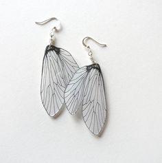 Caddisfly wing dangle earrings by horseflesh on Etsy, $18.00
