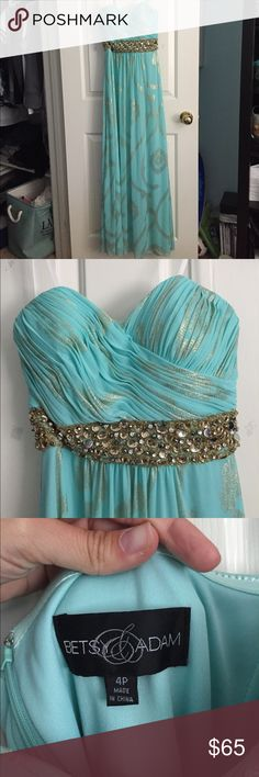 Prom Dress Light teal with gold detailing and beaded empire waist. Strapless with grip around the bust to help hold in place. Worn only once. Betsy & Adam Dresses Prom