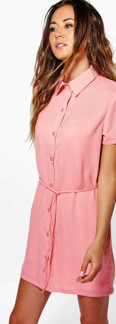 Allie Split Side Skinny Tie Shirt Dress - Dresses  - Street Style, Fashion Looks And Outfit Ideas For Spring And Summer 2017