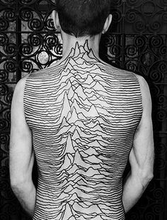 Album Cover Joy Division 'Unknown Pleasures'.  of how common this is, this is by far the biggest that i've ever seen.  but it's beautiful.