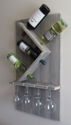 Wine Bottle and Glass Wine Holder Rustic Wall Wine Rack Wine Rack Wall Mounted Best Picture For DIY Wine Rack wire For Your Taste You are looking for something, and it is going to tell you exactly wha Wine Rack Wall, Wine Glass Rack, Wine Bottle Holders, Wine Bottle Holder Wall, Hanging Wine Rack, Beer Bottles, Bottle Stoppers, Glass Bottle, Wine Rack Inspiration
