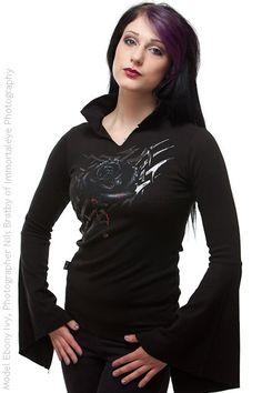 $22.88 Black Rose Dew Highneck Longsleeve Top | Ladies Gothic
