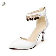 VogueZone009 Women's Pointed Closed Toe Zipper Pu Solid High Heels Pumps Shoes, White, 43 - Voguezone009 pumps for women (*Amazon Partner-Link)