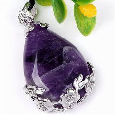 JOVIVI® Natural Gemstone Amethyst Water Drop Teardrop Bead Pendant Leather Necklace Gift|Amazon.com