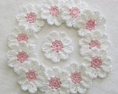 Crochet Flower Appliques set of 12 handmade by IreneStitches