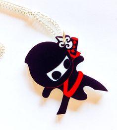 Mini Ninja Acrylic Charm Necklace by SprinkleChick on Etsy, $10.00