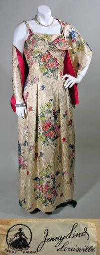 1950s Floral Brocade Vintage Evening Dress and Stole with Magenta Touches from Jenny Lind SZ S