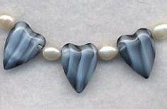 Doggie Bling Czech Pressed Heart Beads & Freshwater Pearl Necklace | 123gemstones - Jewelry on ArtFire