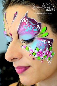 Butterfly-Flowers by Svetlana Keller Face Painting Images, Girl Face Painting, Belly Painting, Face Painting Designs, The Face, Face And Body, Butterfly Face Paint, Butterfly Flowers, Face Paint Makeup