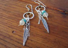 Free Spirit earrings Rainbow Moonstones and turquoise by otherDays, $25.00