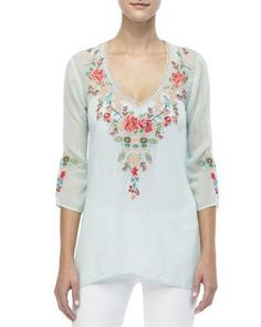 Johnny Was Collection Embroidered V-Neck Julietta Blouse - Neiman Marcus
