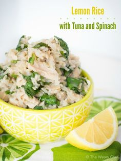 This Lemon Rice Recipe with Tuna and Spinach is one of my easiest and healthiest dinners ever!