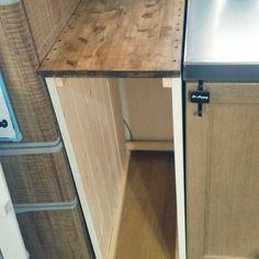 Kitchen/DIY/ツートーン/ナチュラルも男前も好き/1×4材/隙間収納DIY...などのインテリア実例 - 2016-09-20 23:08:16 Diy Interior, Dream Rooms, Kitchen Flooring, Small Apartments, Diy Kitchen, My Room, Wood Furniture, Organization, Cabinet